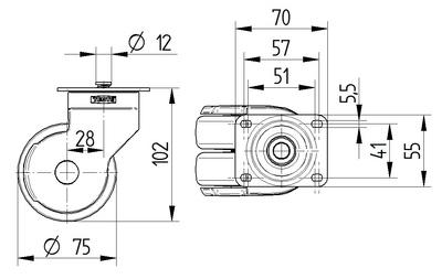 Roata pivotanta cu janta din polipropilena 75x102mm - Schita 1