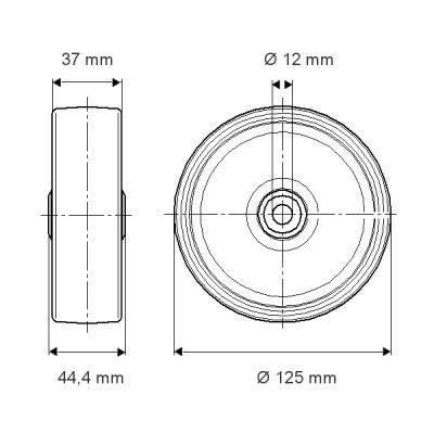 Rola cu janta din tabla din otel 125×44.4mm - Schita 1