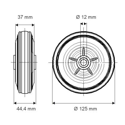 Roata cu janta din tabla din otel 125×44.4mm - Schita 1