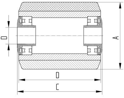 Roata cu janta din tabla din otel 82x70mm - Schita 2
