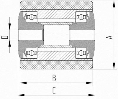 Rola cu janta din tabla din otel 85x110mm - Schita 1