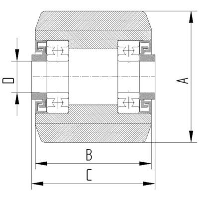 Roata cu janta din tabla din otel 85x75mm - Schita 2