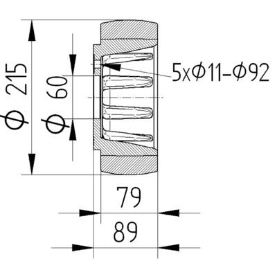 Roata motrica cu janta din fonta 215x76mm - Schita 2