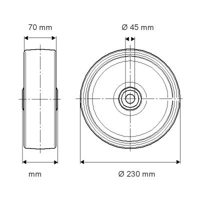 Roata motrica 230x70mm - Schita 1