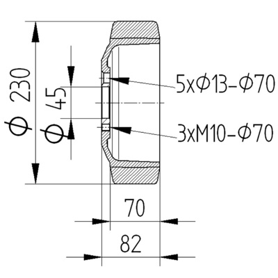 Roata motrica 230x70mm - Schita 2