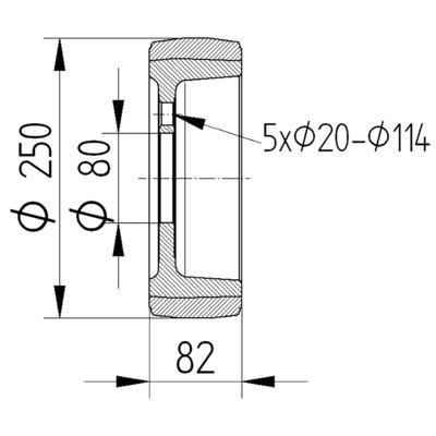 Roata motrica cu janta din fonta 250x82mm - Schita 2