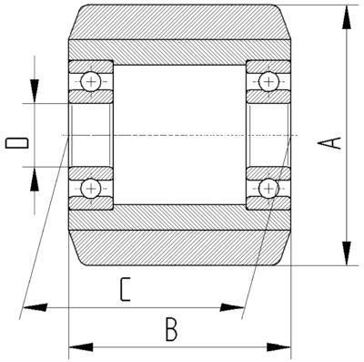 Roata cu janta din fonta 82x28mm - Schita 2