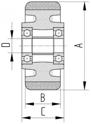 Roata cu janta din fonta 125x40mm - Schita 2