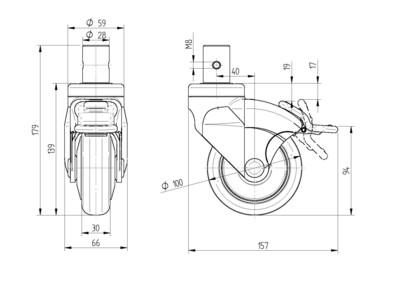 Roata pivotanta cu janta din polipropilena 100x30mm - Schita 1