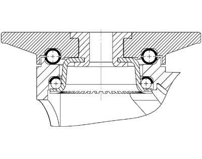 Roata pivotanta cu janta din polipropilena 125x30mm - Schita 1