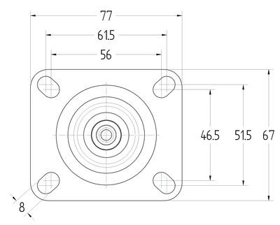 Roata pivotanta cu janta din polipropilena 125x30mm - Schita 3