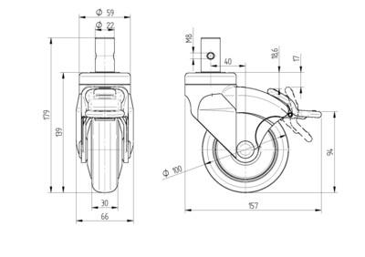 Roata fixa din polipropilena 100x30mm - Schita 1