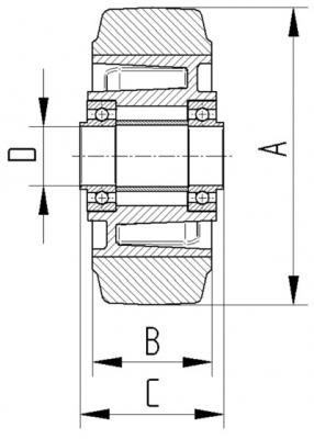 Roata cu janta din aluminiu 100x45mm - Schita 2