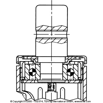 Roata pivotanta cu janta din poliamida 200x35mm - Schita 2