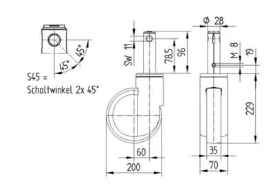 Roata pivotanta cu janta din poliamida 200x35mm - Schita 1
