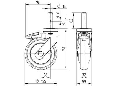 Roata pivotanta din poliamida 125x32mm - Schita 1