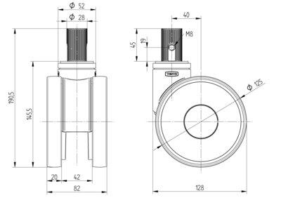 Roata pivotanta cu janta din poliamida 125x20mm - Schita 1
