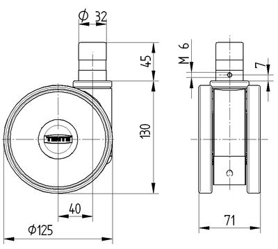 Roata pivotanta cu janta din poliamida 125x15mm - Schita 1