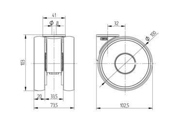 Roata pivotanta cu janta din poliamida 100x20mm - Schita 1