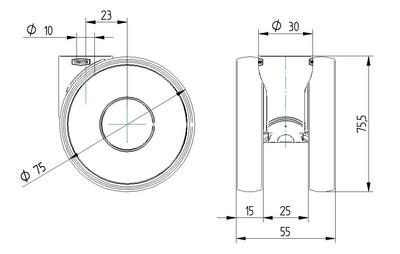 Rola pivotanta cu janta din poliamida 75x15mm - Schita 1