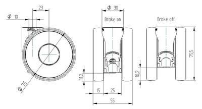 Roata pivotanta din polipropilena 75x15mm - Schita 1