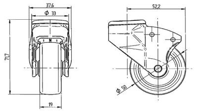 Roata pivotanta cu janta din polipropilena 50x18mm - Schita 1