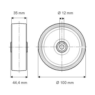 Roata cu janta din polipropilena 100x35mm - Schita 1