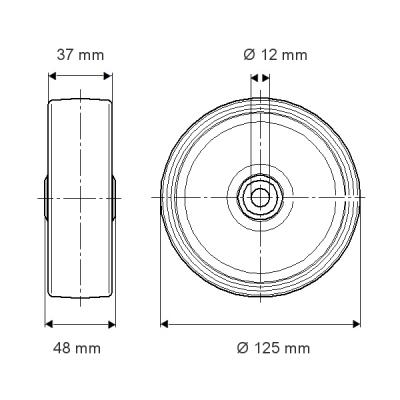 Roata cu janta din polipropilena 125x37mm - Schita 1