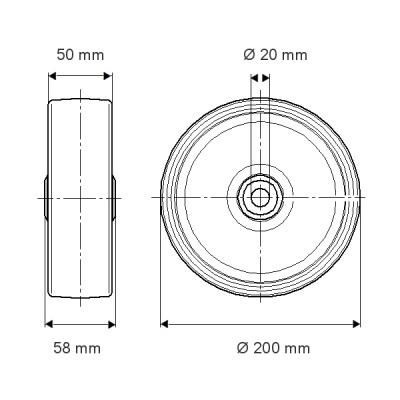 Rola pivotanta cu janta din polipropilena 200x58mm - Schita 1