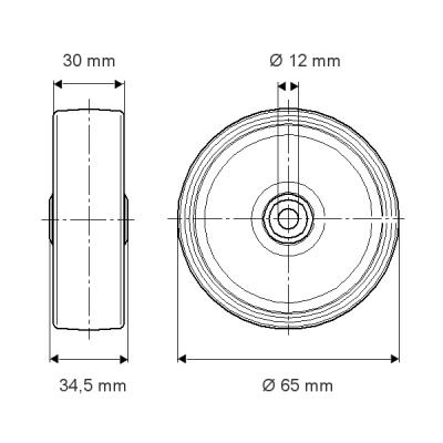 Roata din polipropilena 65×34.5mm - Schita 1