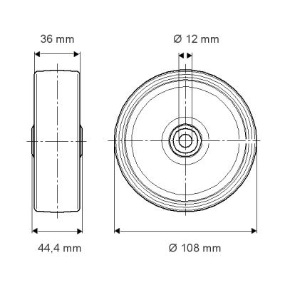 Roata pivotanta cu janta din polipropilena 108×44.4mm - Schita 1
