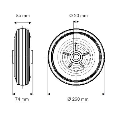 Rola pivotanta cu janta din polipropilena 260x74mm - Schita 1