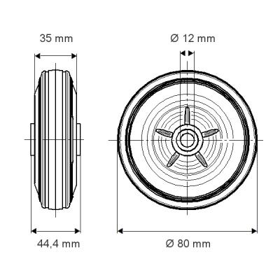 Rola cu janta din polipropilena 80×44.4mm - Schita 1