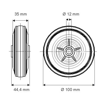 Roata cu janta din polipropilena 100×44.4mm - Schita 1