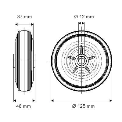 Roata cu janta din polipropilena 125x48mm - Schita 1
