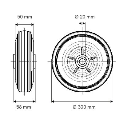 Roata cu janta din polipropilena 300x58mm - Schita 1
