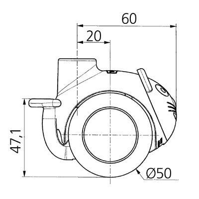 Rola pivotanta cu janta din polipropilena 50×8.5mm - Schita 1