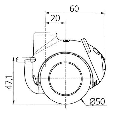 Roata pivotanta cu janta din polipropilena 50×8.5mm - Schita 1