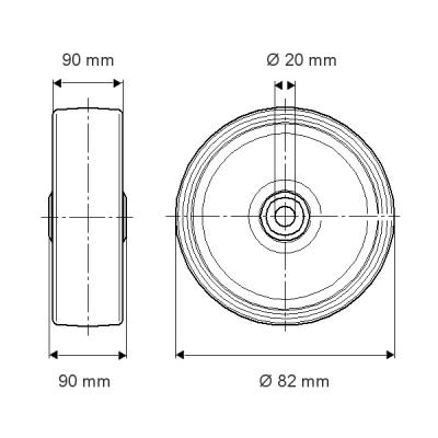 Roata din poliamida 82x90mm - Schita 1