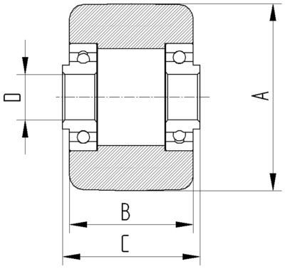 Roata din poliamida 82x90mm - Schita 2
