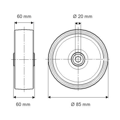 Roata din poliamida 85x60mm - Schita 1