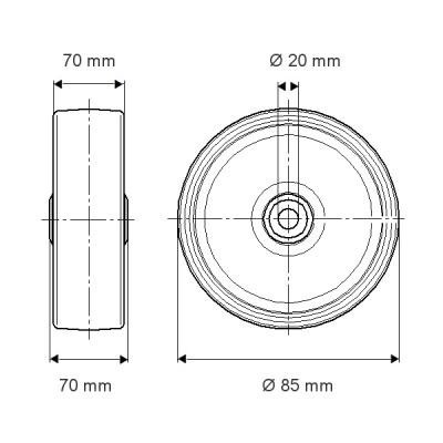 Roata din poliamida 85x70mm - Schita 1