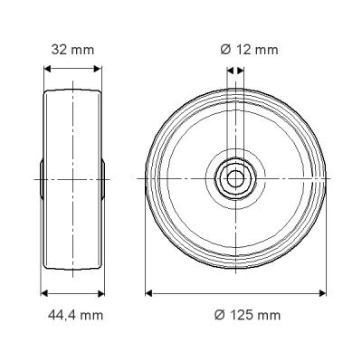 Roata cu janta din poliamida 125×44.4mm - Schita 1