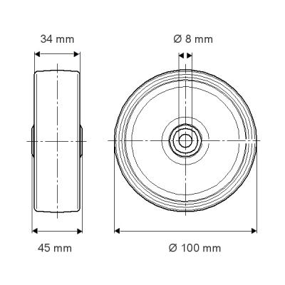 Roata cu janta din poliamida 100x45mm - Schita 1