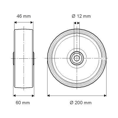 Roata cu janta din poliamida 200x60mm - Schita 1